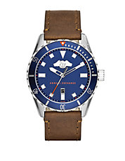 Mens Stainless Steel and Dark Brown Leather Strap Watch