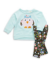 Two-Piece Owl Top And Leggings Set