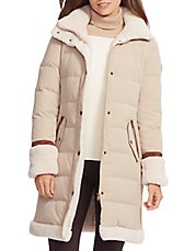 Faux Shearling Down Walker Coat