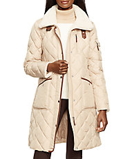 Berber Trim Faux Fur-Paneled Walker Coat
