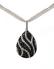 Black Sapphire and Diamond Necklace in Sterling Silver