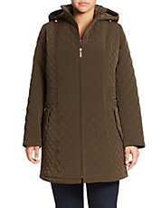 Plus Hooded Quilted Coat