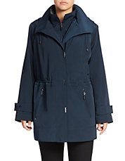 Plus Mockneck Collar Water-Repellant Jacket