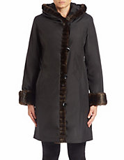 Plus Faux Fur-Trimmed Hooded Coat