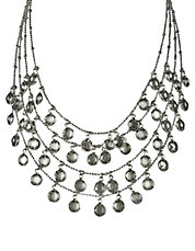 Silvertone Clear-Stone Layered Drop Necklace