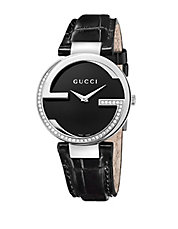 Ladies G Diamond Watch with Black Leather Strap