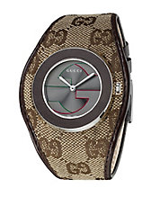Ladies Stainless Steel and Leather Watch with Fabric Strap