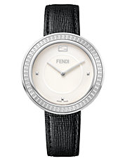 Ladies My Way Stainless Steel and Fox Fur Watch
