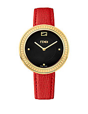 Ladies My Way Goldtone and Fox Fur Watch
