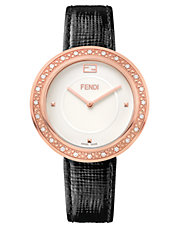 Rose Goldtone, Diamond  and Fox Fur Watch with Leather Strap
