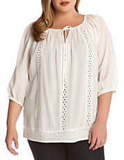 Plus Embroidered Peasant Top