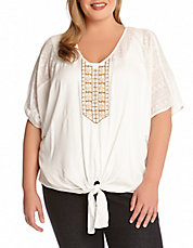 Plus Coronado Beaded Tie-Front Top