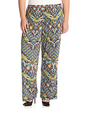 Plus Geometric Print Pants
