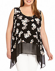 Plus Floral Print Sheer-Hem Tank Top