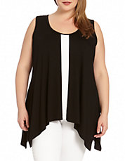Plus Contrast Panel Handkerchief Tank