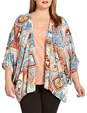 Plus Paisley Drape Jacket