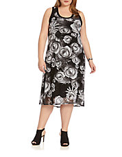 Plus Monochrome Floral High-Low Dress