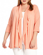 Plus Three-Quarter Sleeve Linen Cardigan