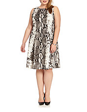Plus Snake Printed Scuba Dress