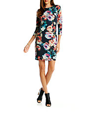 Abstract Rose Sheath Dress