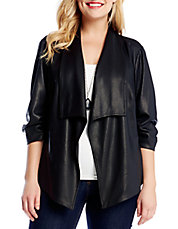 Plus Draped Faux Leather Jacket