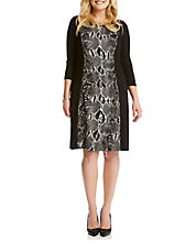 Plus Snakeskin-Panel Sheath Dress