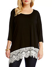 Plus Asymmetrical Lace-Hem Top