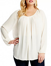 Plus Pleat Front Blouse