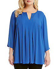 Plus Pleated Swing Blouse