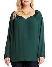 Plus Split V Neck Peasant Top