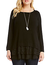 Plus Tiered Lace Stretch Knit Tunic