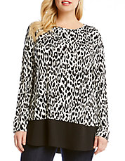 Plus Leopard-Printed Tunic