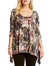 Plus Floral Handkerchief-Hem Top