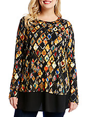 Plus Graphic Print Blouse