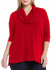 Plus Dolman Cowl Neck Sweater