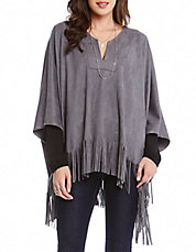 Faux Suede Fringed Poncho