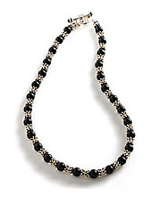 Sterling Silver and 14K Yellow Gold Onyx Necklace