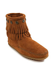 Double Fringed Suede Ankle Boots