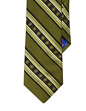 Silk Striped and Floral Tie