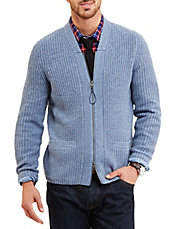 Full-Zip Shawl-Collar Cardigan