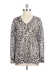 Sheer Animal Pattern V-Neck
