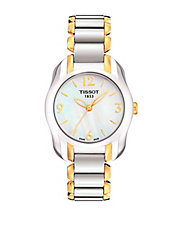 Ladies T Wave Round White Mother Of Pearl and Quartz Trend Watch