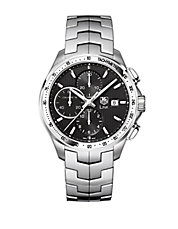 Mens Link Black Dial Chronograph Watch