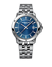 Stainless Steel Bracelet Watch with Deep Blue Dial