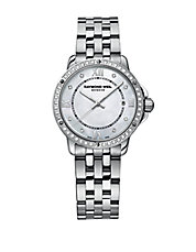 Ladies' Stainless Steel Tango Watch with Diamond-Encrusted Bezel