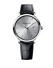 Mens Toccato Stainless Steel and Leather Watch