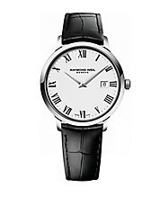 Mens Toccata Silvertone and Leather Watch