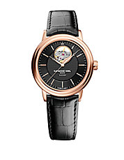 Mens Maestro Rose Goldtone and Leather Watch
