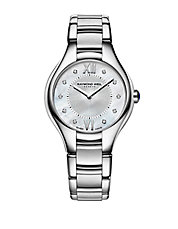 Ladies Noemia Silvertone Watch with Diamonds