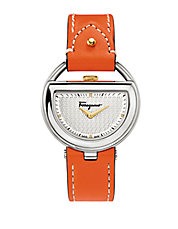 Ladies Silver-Tone Half Moon Watch